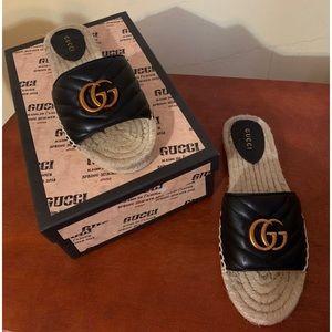 Gucci Black Leather Espadrille Sandals AUTHENTIC